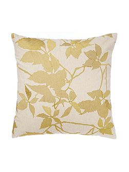 Embroidered leaf cushion, lime