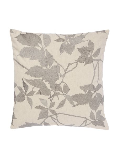 Linea Embroidered leaf cushion, grey