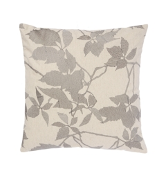 Linea Embroidered Grey Leaf Cushion