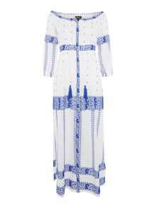 Bardot Long Sleeved Tassle Printed Dress