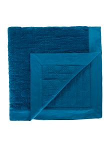 Living by Christiane Lemieux Geometric design velvet bedspread, teal