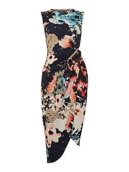 Sleeveless Print Knot Asemetric Dress