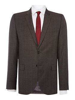 Notch Windowpane Check Suit Jacket