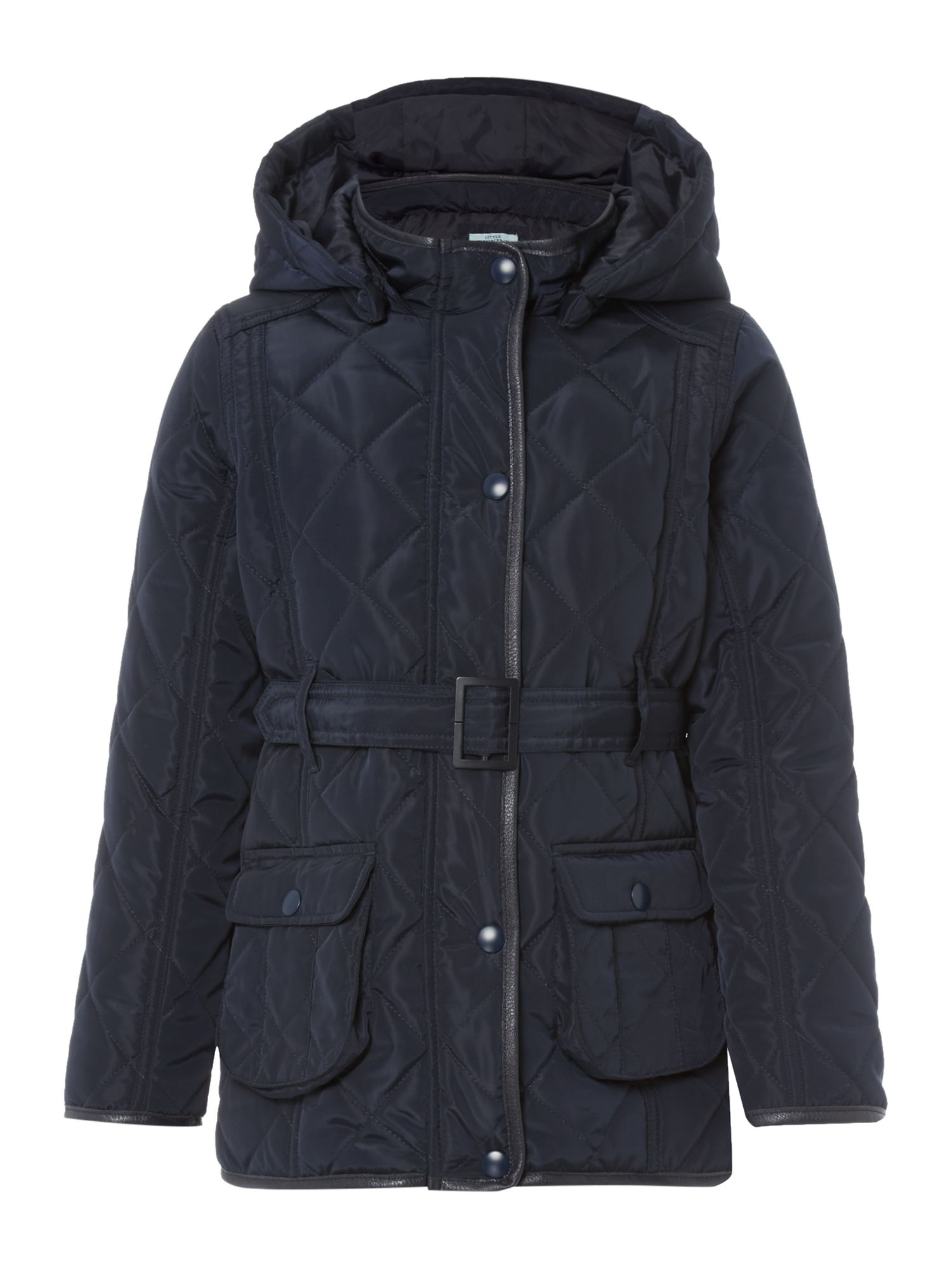 Little Dickins & Jones Little Dickins & Jones Girls Quilted jacket with hood, Navy