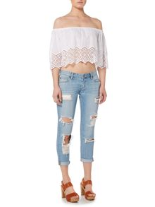 Bardot Off Shoulder Lace Hem Top