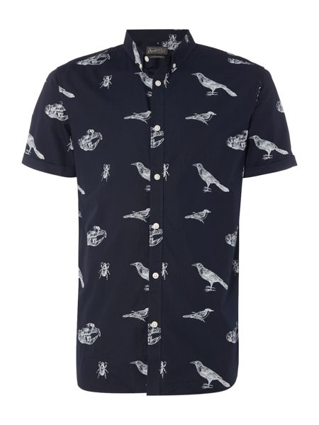 Jack & Jones Originals All Over Bird Print Short Sleeve Shirt