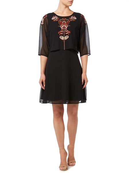 Biba Embroidered tie back overlay dress