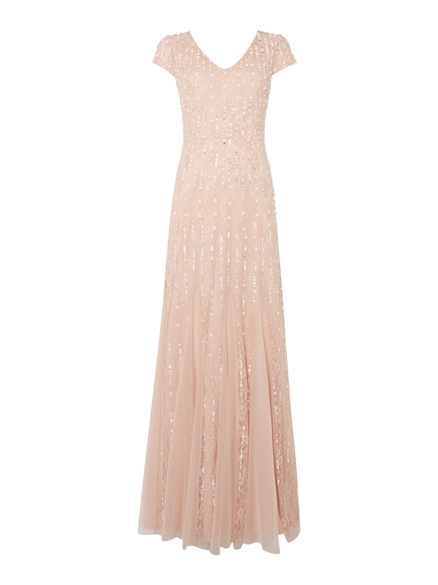 Vintage Inspired Bridesmaid Dresses, Mothers Dresses Adrianna Papell Short sleeve V neck beaded gown £340.00 AT vintagedancer.com