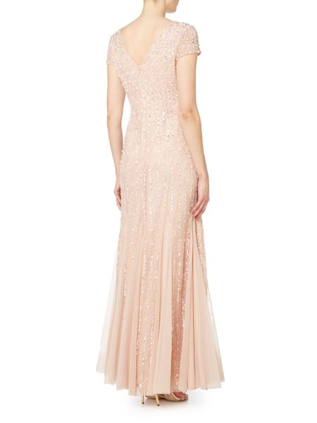 Adrianna Papell Short sleeve V neck beaded gown