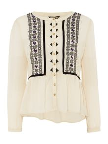 Biba Embroidered 1940s style blouse