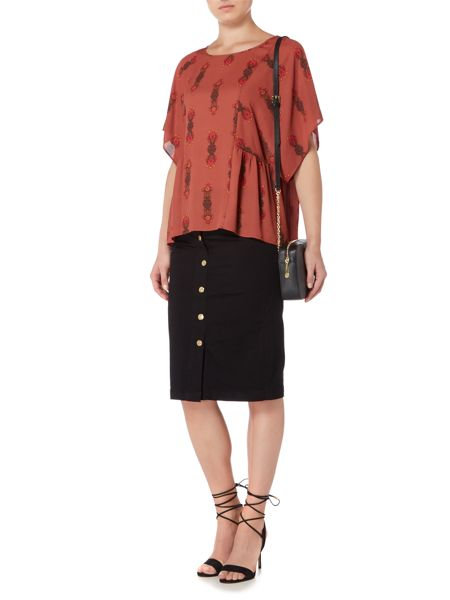 Biba Printed square volume blouse