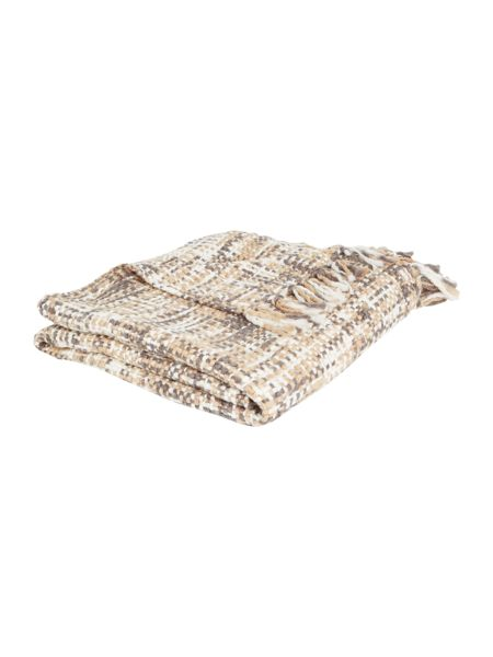 Linea Checked woven throw, grey