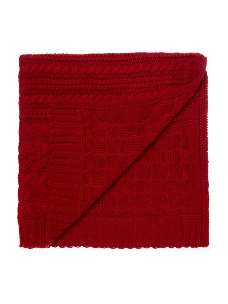 Linea Chunky cable knit blanket, red