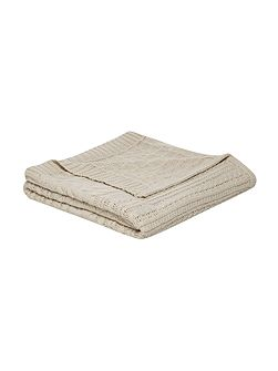 Chunky cable knit blanket, stone