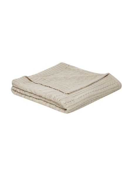 Linea Chunky cable knit blanket, stone