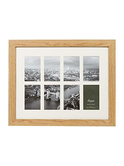 Pale wood 8 aperture photo frame