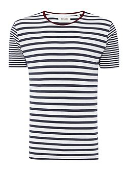 Stripe contrast neck Short Sleeve T-shirt