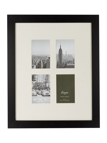 Linea Black wood 4 aperture photo frame
