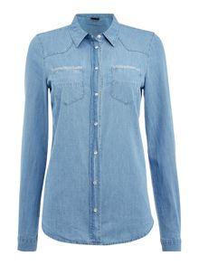 Vila Long Sleeved Denim Shirt