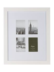 Linea White wood 4 aperture photo frame