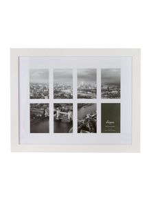 Linea White wood 8 aperture photo frame