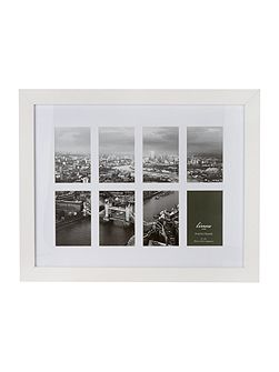 White wood 8 aperture photo frame