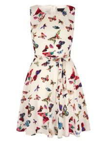 Mela Loves London Multi Butterflies Skater Dress