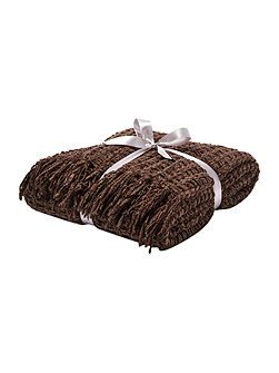 Textured chenille throw, chocolate