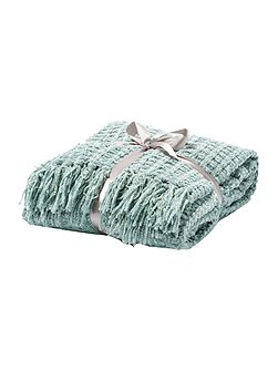 Textured chenille throw, duckegg