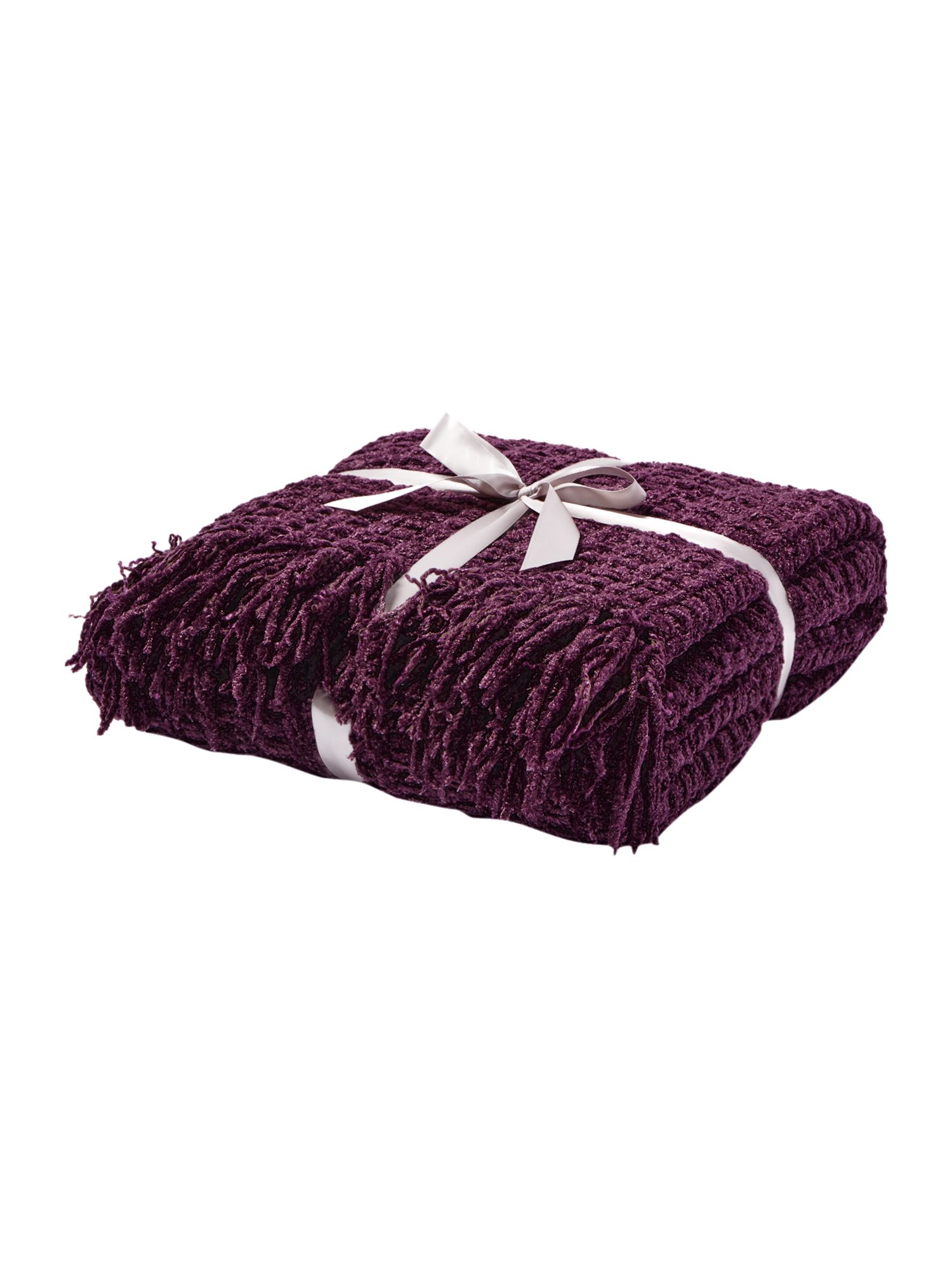 Linea textured chenille throw purple red octer for Purple chenille sofa