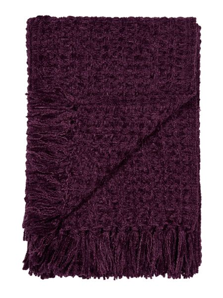 Linea Textured chenille throw, purple
