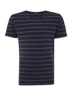 Ditsy Stripe Crew Neck Short Sleeve T-shirt
