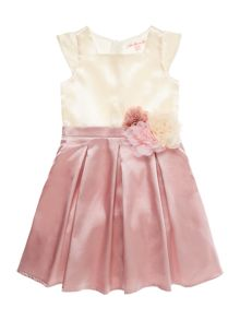 Little Misdress Girls Full satin skirt dress with corsages