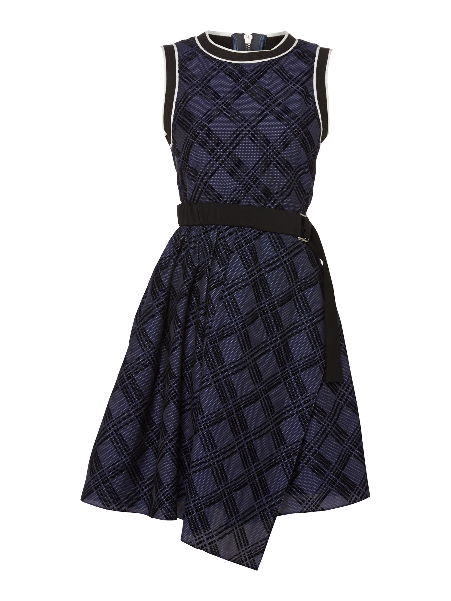 Sportmax Code Pool check print belted dress with uneven hem, Blue
