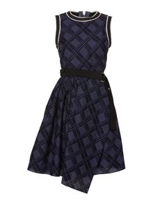 Sportmax Code Pool check print belted dress with uneven hem