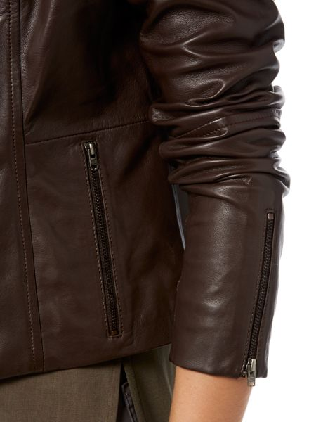 Gray & Willow Finn funnel neck waterfall leather jacket