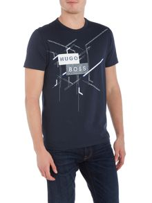 Hugo Boss Regular fit line graphic print crew neck t shirt