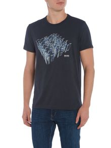 Hugo Boss Regular fit shadow shevron crew neck t shirt