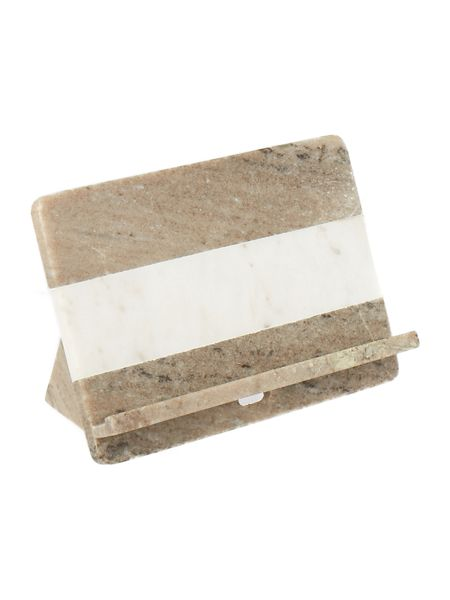 Gray & Willow Beige and white marble tablet stand