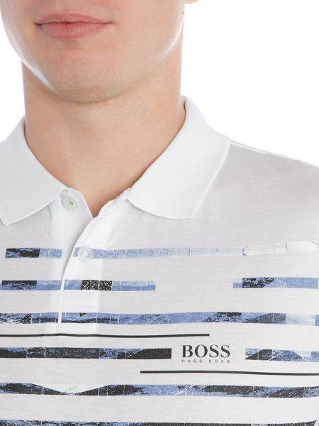 Hugo Boss Paule slim fit graphic stripe polo shirt