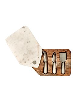 Marble cheese board and knife set