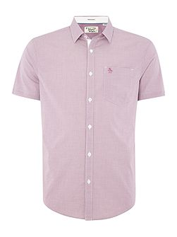 Convex Gingham Button Through Short Sleeve Shirt