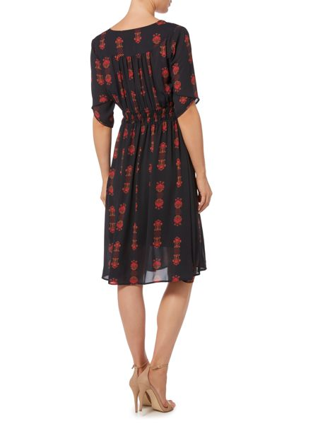Biba Printed v neck knee length dress