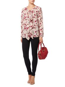 Biba Printed frill front floral leopard blouse