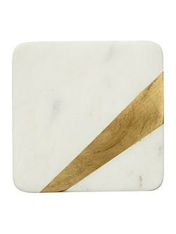 Set of 4 marble coasters with gold edge