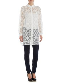Girls on Film Long Sleeve Long Lace Shirt