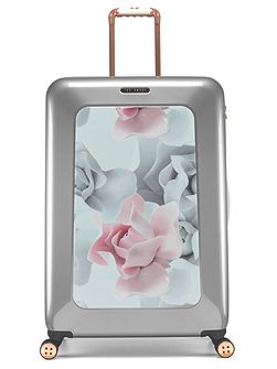 Porcelain rose 8 wheel hard large suitcase