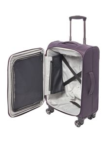 Linea Spacelite II purple 8 wheel soft cabin suitcase