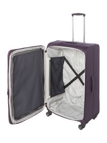 Linea Spacelite II purple 8 wheel soft large suitcase
