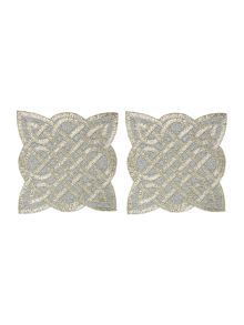 Biba Pewter twist beaded placemats set of 2
